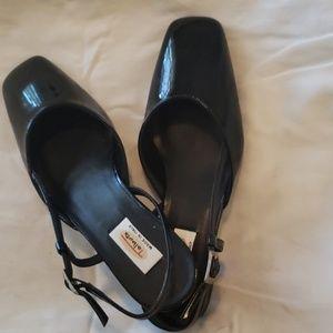 Black patent sling back shoes